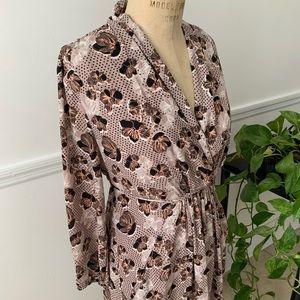 Vintage pattern floral wrap dress w/pockets size L